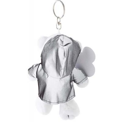 Image of Plush polar bear in a reflective hoodie with a key ring.