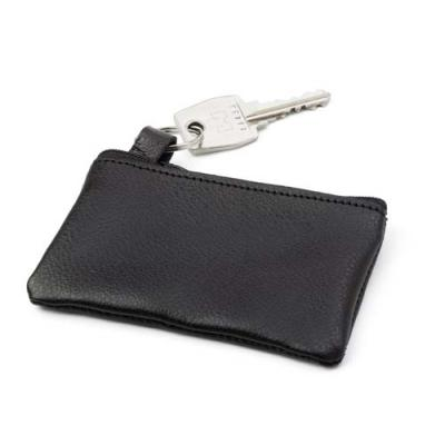 Image of Leather key wallet with metal ring and zipper.