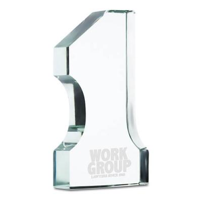Image of Number one glass trophy