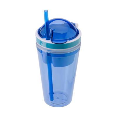 Image of Snack mug with straw and extra compartment