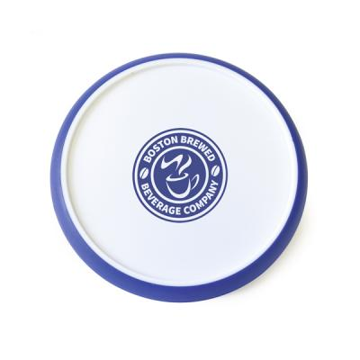 Image of Circular White Plastic Coaster With Coloured Edge