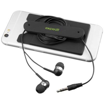 Image of Wired earbuds and silicone phone wallet